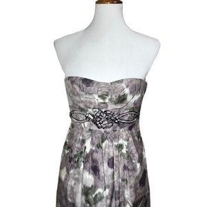 BCBGMaxAzria Watercolor Strapless Midi Dress